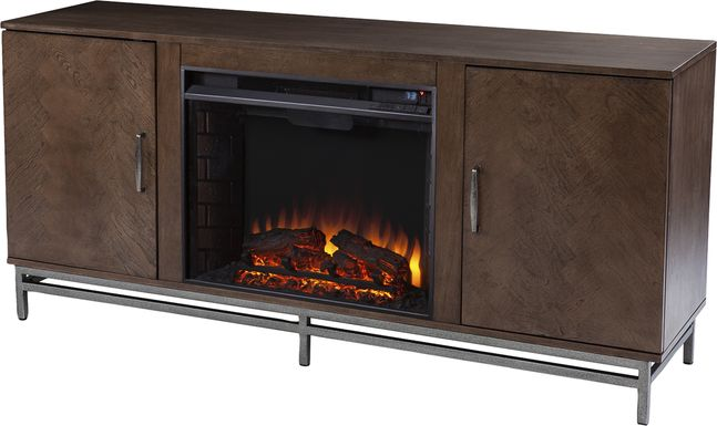 Varlet I Brown 60 in. Console With Electric Log Fireplace