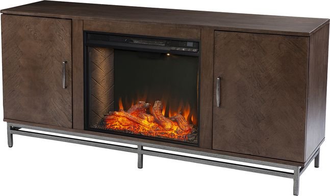 Varlet II Brown 60 in. Console With Smart Electric Fireplace