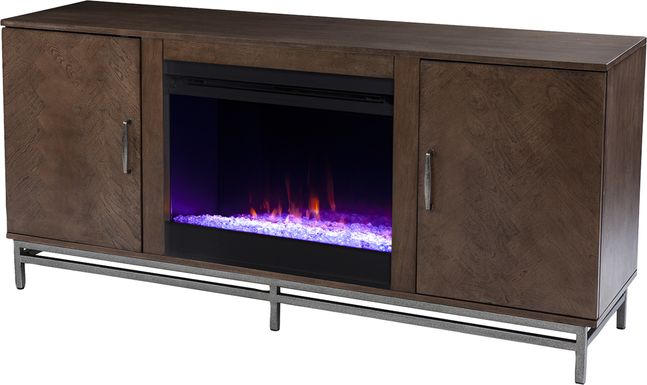 Varlet III Brown 60 in. Console With Electric Fireplace