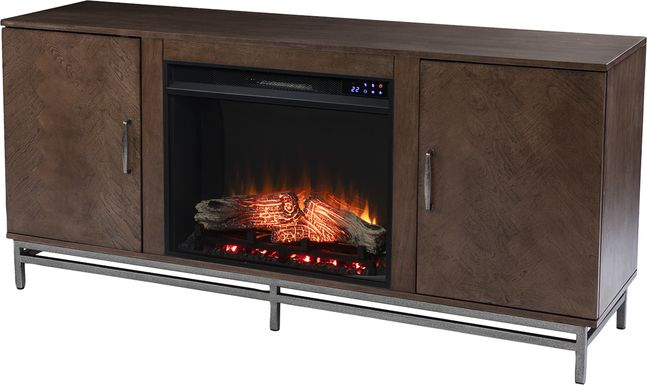 Varlet IV Brown 60 in. Console With Electric Log Fireplace