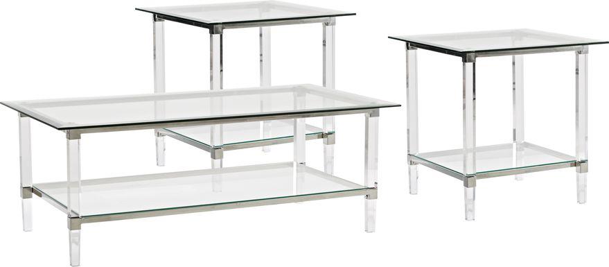 Varna Silver 3 Pc Rectangle Table Set