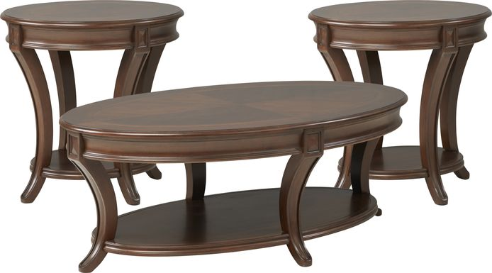 Veckerton Brown Cherry 3 Pc Table Set