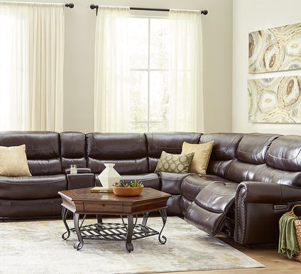 Venezio Brown Leather 6 Pc Dual Power Reclining Sectional