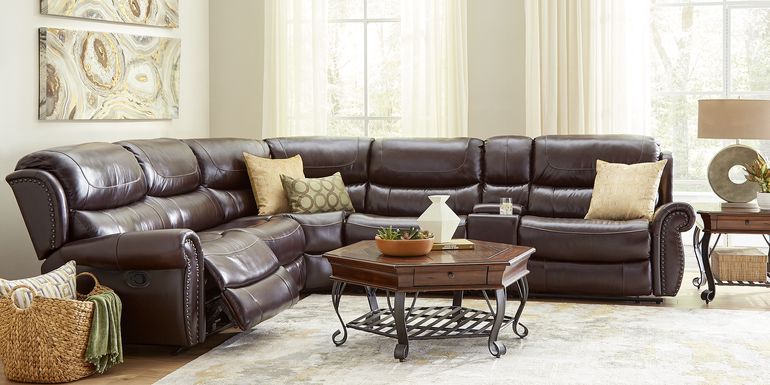 Venezio Brown Leather 6 Pc Reclining Sectional