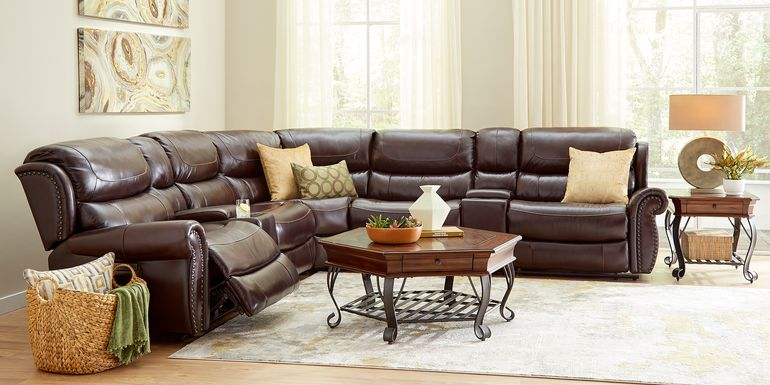 Venezio Brown Leather 7 Pc Reclining Sectional