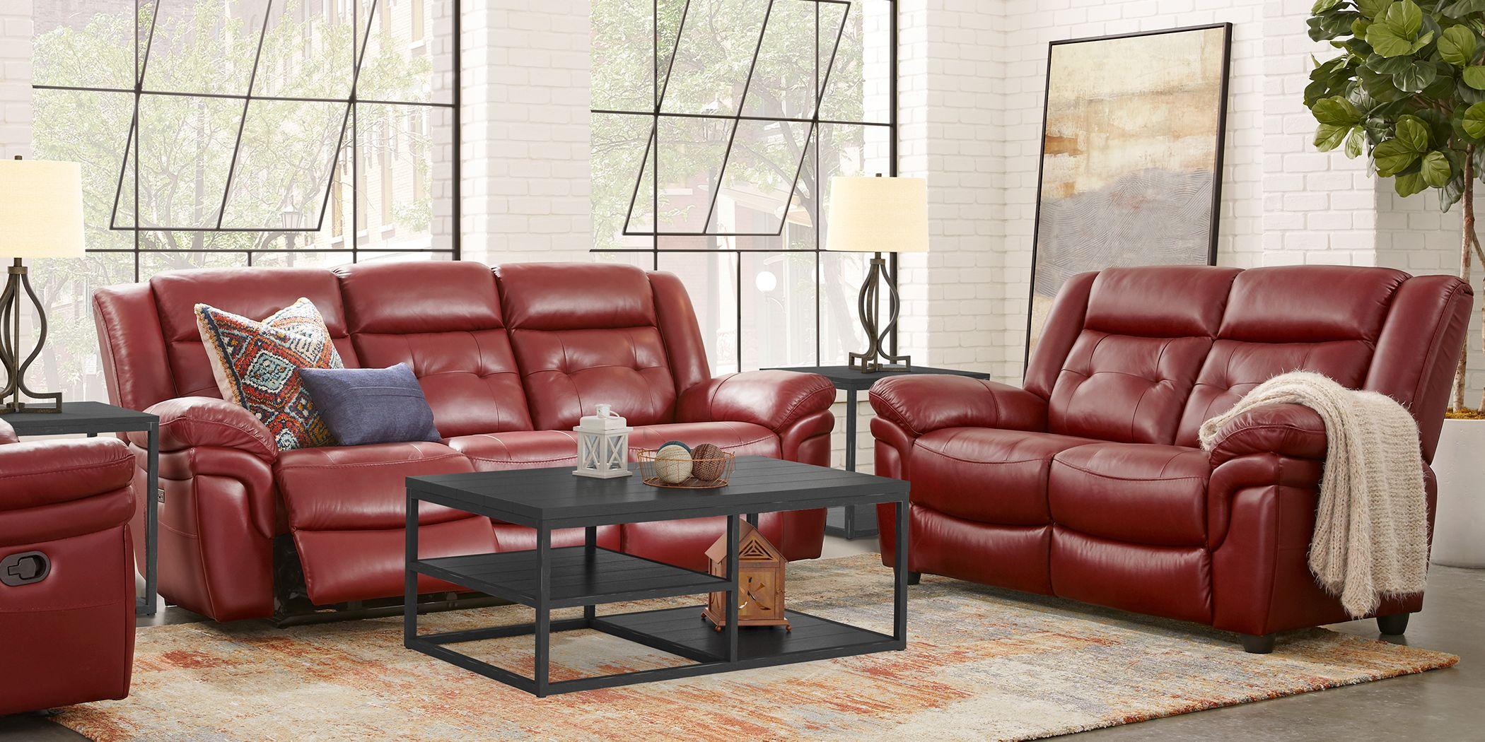 Ventoso Red Leather 3 Pc Living Room With Reclining Sofa Rooms To Go