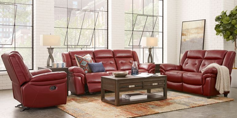 Ventoso Red Leather 5 Pc Living Room with Reclining Sofa