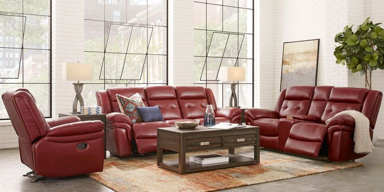 Ventoso Red Leather 5 Pc Reclining Living Room
