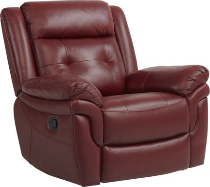 Ventoso Red Leather Glider Recliner