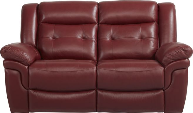 Ventoso Red Leather Loveseat