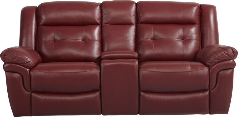 Ventoso Red Leather Reclining Console Loveseat