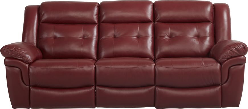 Ventoso Red Leather Reclining Sofa