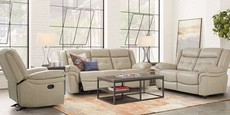 Ventoso Sand Leather 2 Pc Living Room with Reclining Sofa