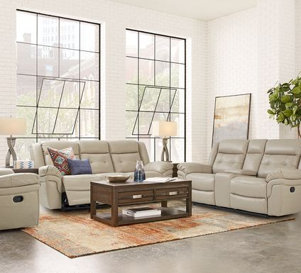 Ventoso Sand Leather 5 Pc Reclining Living Room