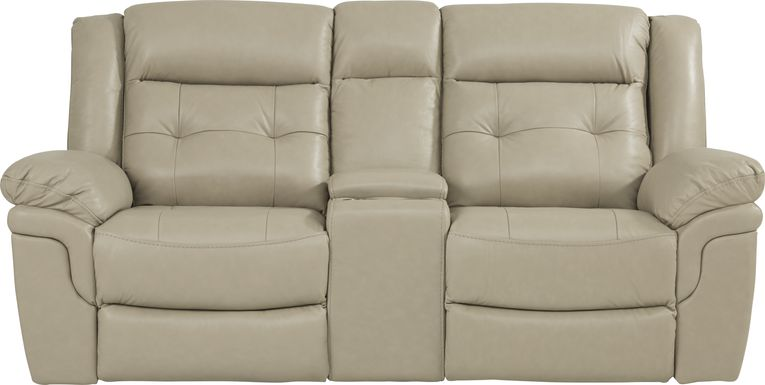 Ventoso Sand Leather Reclining Console Loveseat