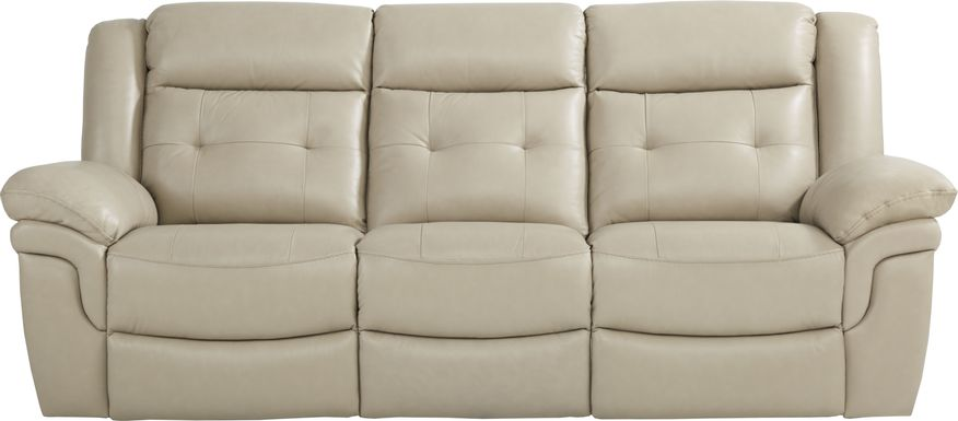 Ventoso Sand Leather Reclining Sofa
