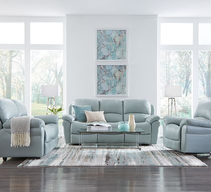 Vercelli Aqua Leather 2 Pc Living Room with Reclining Sofa