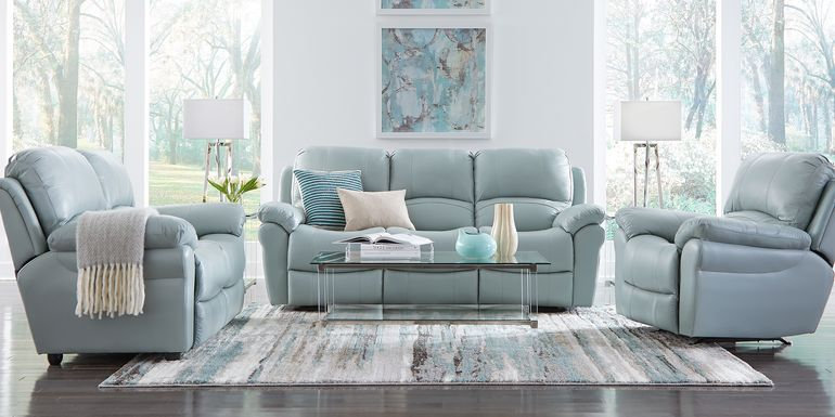 Vercelli Aqua Leather 2 Pc Living Room with Reclining Sofa