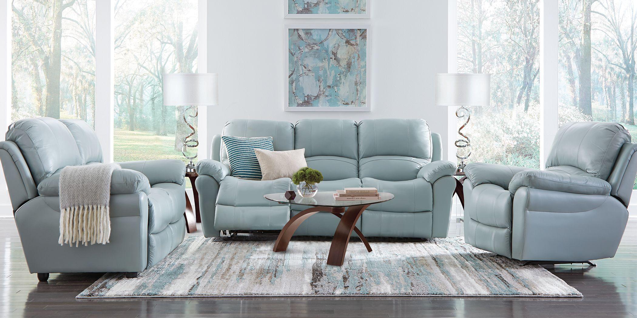 Vercelli Aqua Leather 3 Pc Living Room with Reclining Sofa