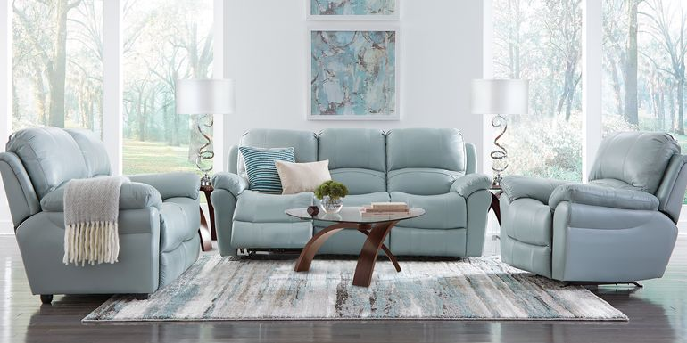 Vercelli Aqua Leather 3 Pc Living Room with Reclining Sofa