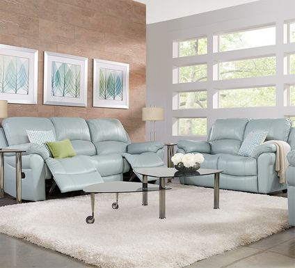 Vercelli Aqua Leather 5 Pc Living Room with Reclining Sofa