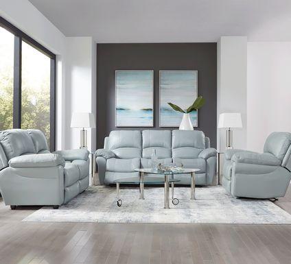 Vercelli Aqua Leather 5 Pc Living Room with Reclining Sofa