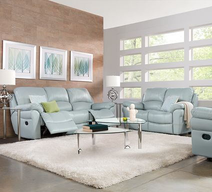 Vercelli Aqua Leather 7 Pc Living Room with Reclining Sofa