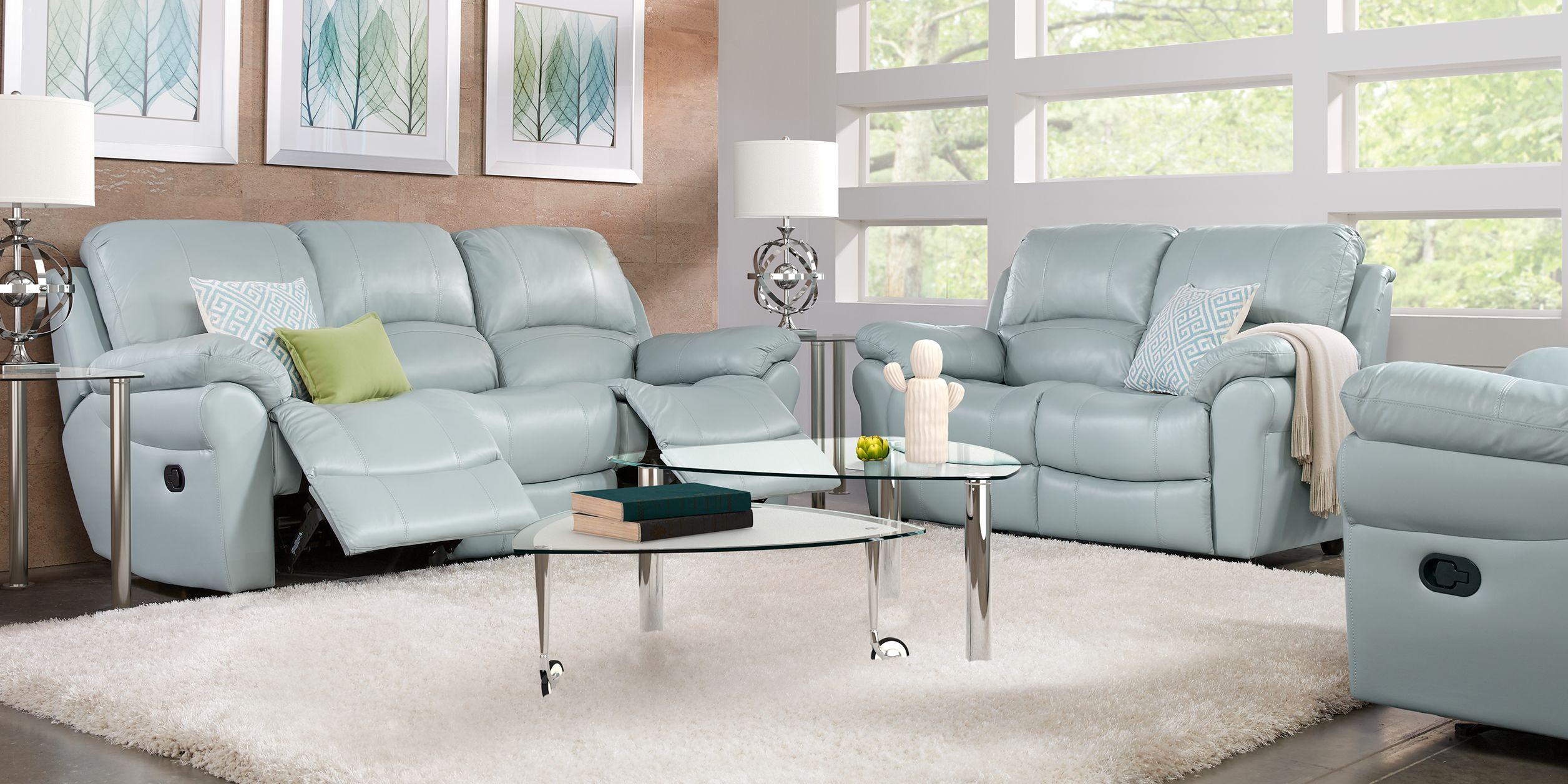 Vercelli Aqua Leather 7 Pc Living Room with Reclining Sofa