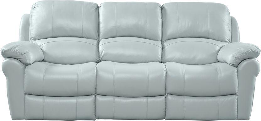 Vercelli Aqua Leather Power Reclining Sofa
