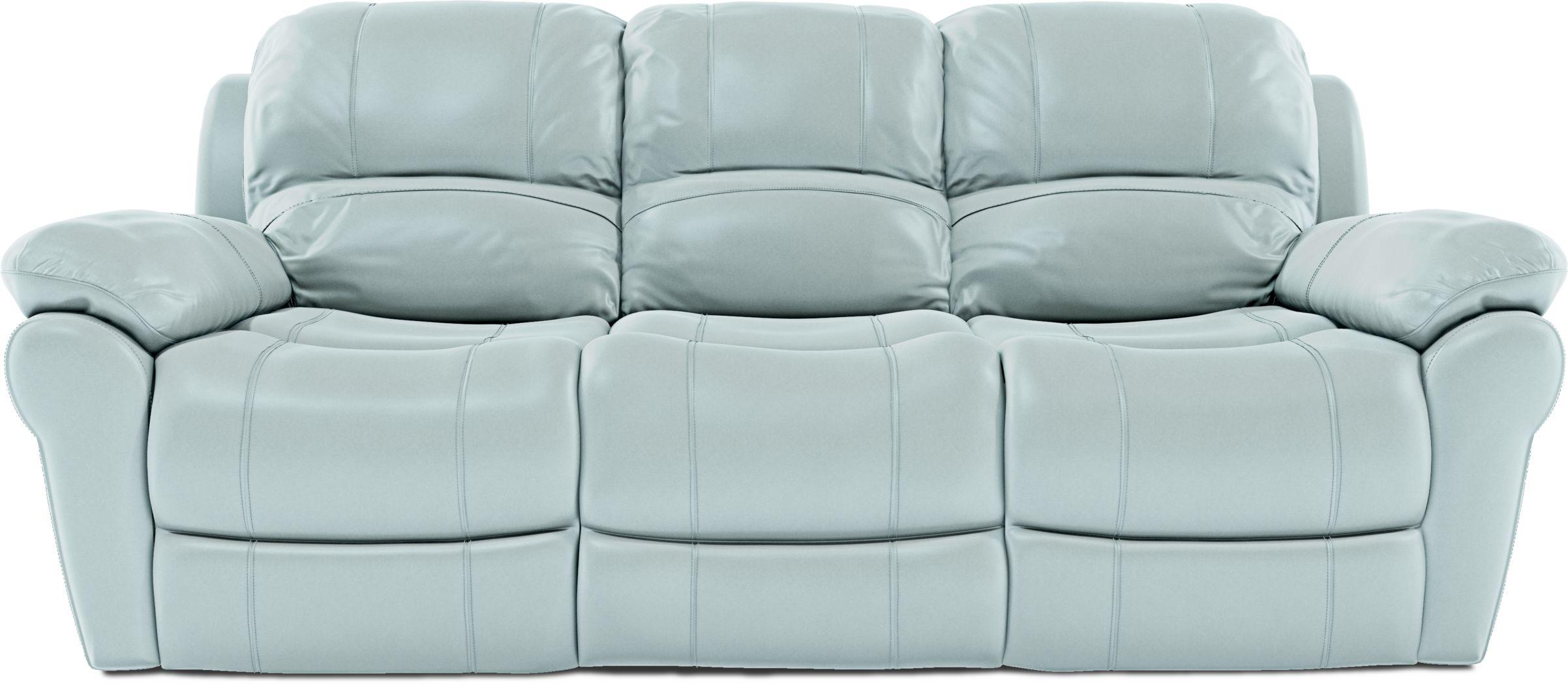 Vercelli Aqua Leather Reclining Sofa