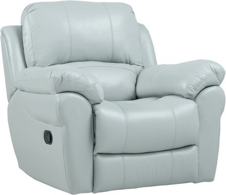 Vercelli Aqua Leather Rocker Recliner