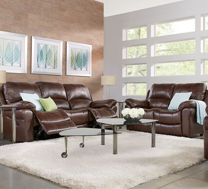 Vercelli Brown Leather 3 Pc Living Room with Reclining Sofa