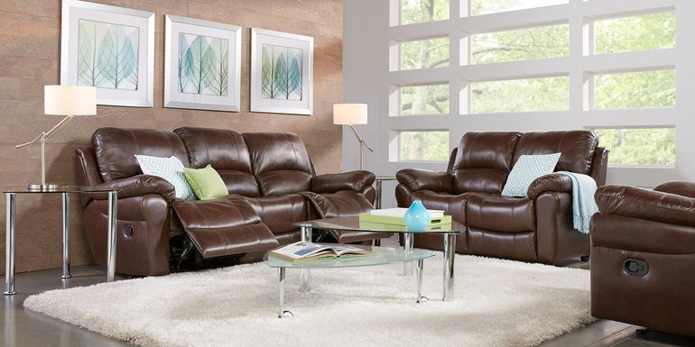 Vercelli Brown Leather 5 Pc Living Room with Reclining Sofa