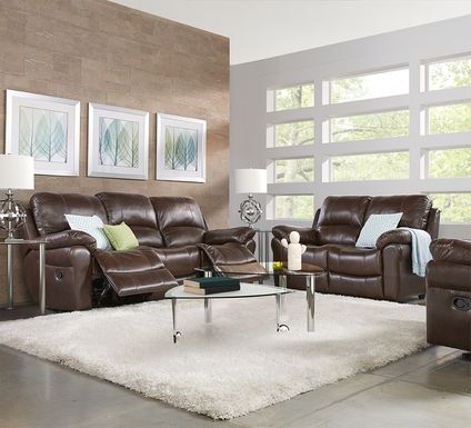 Vercelli Brown Leather 7 Pc Living Room with Reclining Sofa