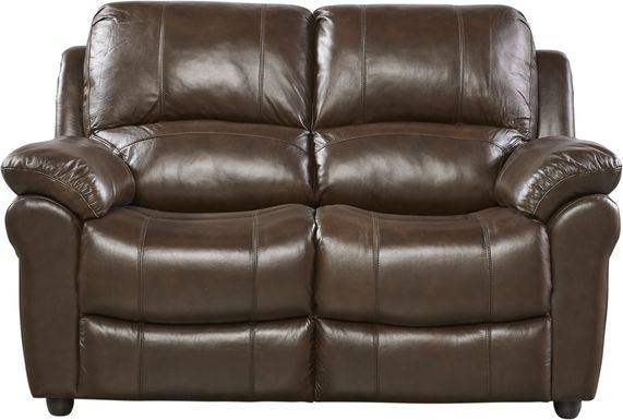 Vercelli Brown Leather Loveseat
