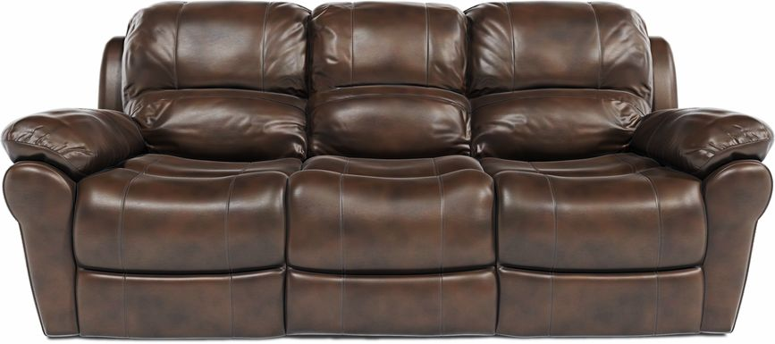 Vercelli Brown Leather Power Reclining Sofa