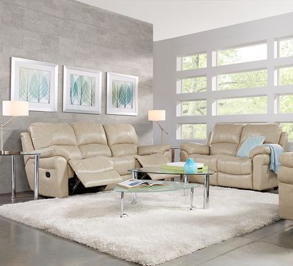 Vercelli Stone Leather 2 Pc Living Room with Reclining Sofa
