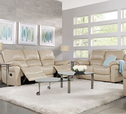 Vercelli Stone Leather 3 Pc Living Room with Reclining Sofa
