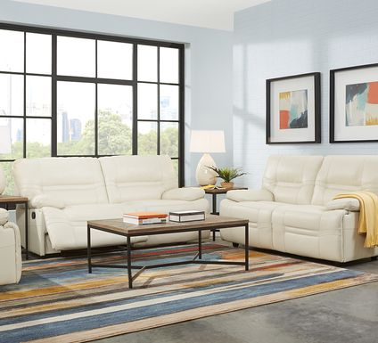 Vernazza Beige Leather 3 Pc Living Room with Reclining Sofa