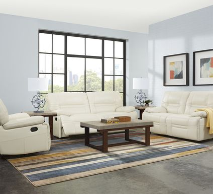 Vernazza Beige Leather 5 Pc Living Room with Reclining Sofa