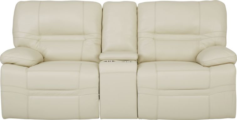 Vernazza Beige Leather Power Reclining Console Loveseat