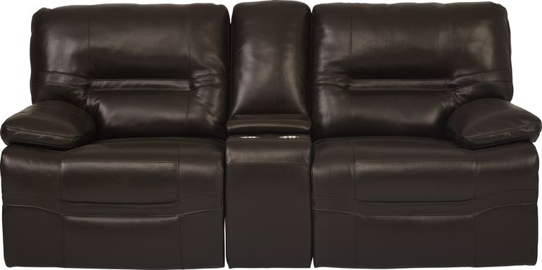 Vernazza Chocolate Leather Power Reclining Console Loveseat