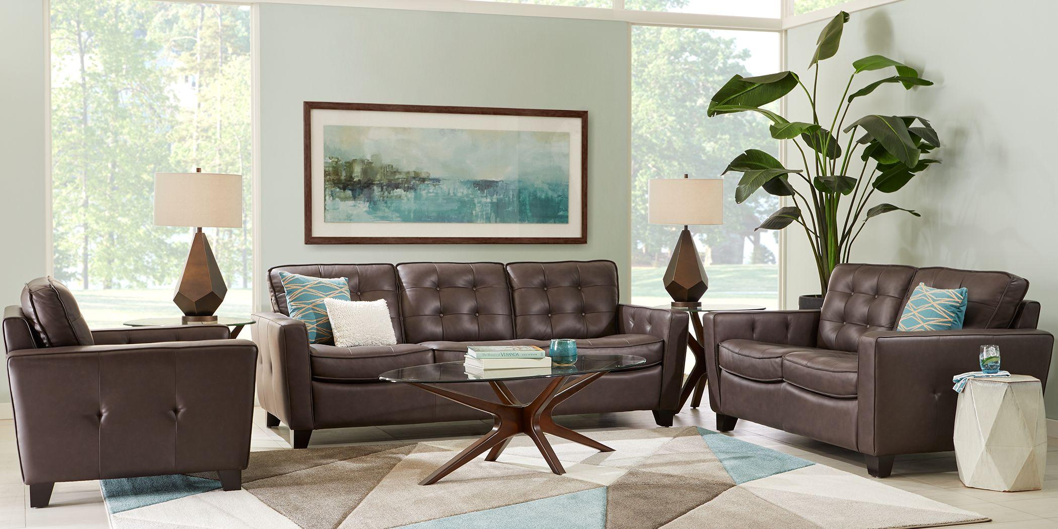 Via Rosano Coffee 3 Pc Leather Living Room