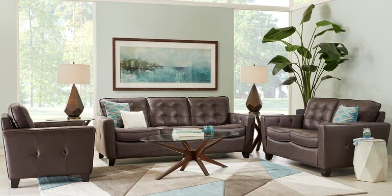 Via Rosano Coffee 3 Pc Leather Living Room