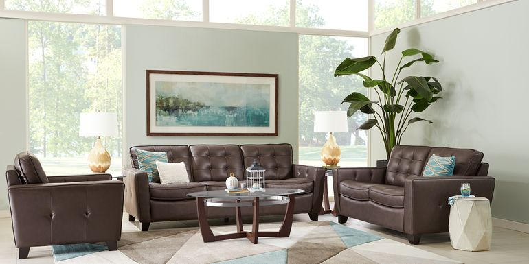 Via Rosano Coffee 5 Pc Leather Living Room