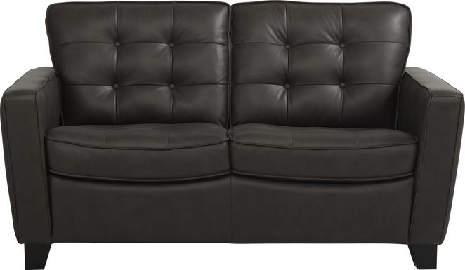 Via Rosano Coffee Leather Loveseat