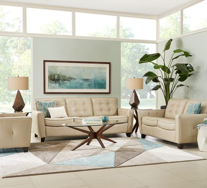 Via Rosano Latte 3 Pc Leather Living Room