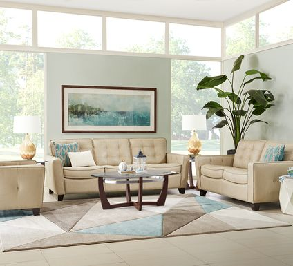 Via Rosano Latte 5 Pc Leather Living Room