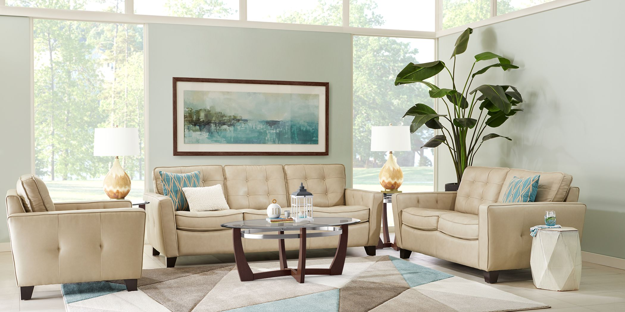 Via Rosano Latte 5 Pc Leather Living Room