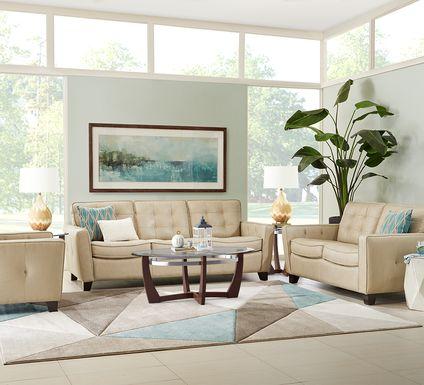 Via Rosano Latte 7 Pc Leather Living Room